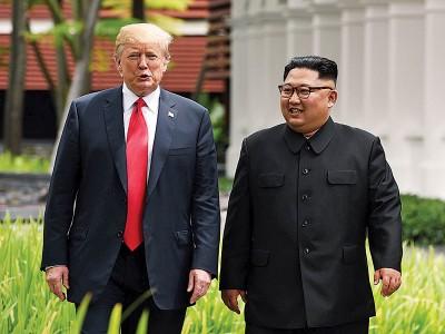 特朗普(左)几度强调和金正恩(右)的涉及可以。