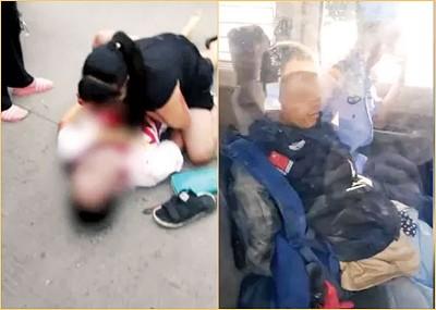 白衣男子躺在地上(左图),疑犯(右图)被捕。