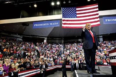 特朗普到艾奥瓦州出席竞选活动。(法新社照片)
