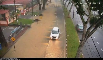 东北县及西南县多区路段积水,影响局部交通。