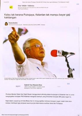 林冠英指纳吉也曾发表吉兰丹州政府没有能力支付公务员薪水的言论。