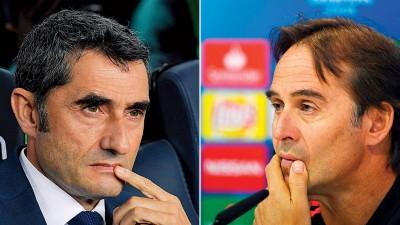 (左)巴尔韦德表示,我们依然会想念梅西。(右)比赛结果也事关洛佩特吉的命运。