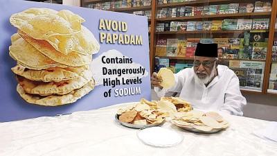 莫哈末依里斯敦促卫生部,限制印度炸薄饼钠含量。