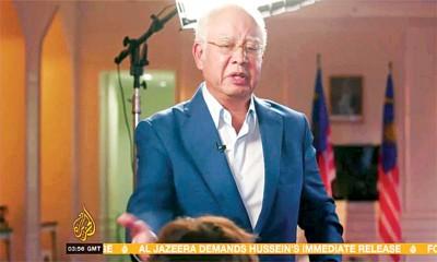 前首相拿督斯里纳吉接受《半岛电视》专访时被主持人追问蒙女及一马案,数度激怒,愤而离开录影室。