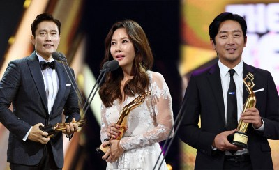 (左)李炳宪因《太阳先生》得视帝殊荣。(遭逢)钱南珠以《Misty》克视后。(右)水正宇开心拿下