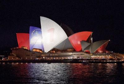 朝批准在悉尼歌剧院外墙投射赛马活动广告。(法新社照片)