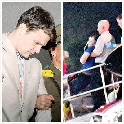 盖姆比尔(左图)被判劳改,不过他回去抵美国不时(右图)陷于昏迷。