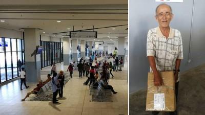 (左)巴士候车厅内舒适广阔,不论是长途或短途民众都可舒适地等待巴士到来。(右)老伯:长途巴士候车厅必需凭票而入,这让他有点着急,不懂该如何给孩子送去东西。