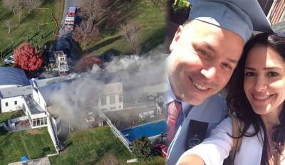 (左图)卡内罗的豪宅起火。(右图)卡内罗(左)和老伴。