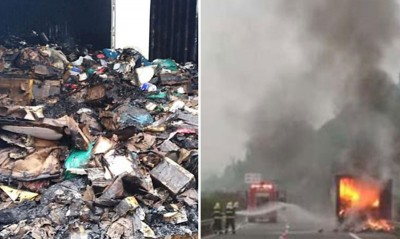 货车在高速公路上自燃,过万件包裹全数烧毁。