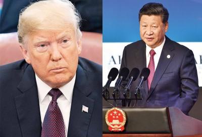 (左)特朗普周五为记者透露,中华就为美国求和,交贸易建议清单。(右)习近平以APEC刊登演讲,如贸易战不会来真正赢家。(法新社照片)