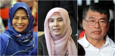 诺莱妮(左起)、努鲁依莎及梁自坚成为公账会新委员。