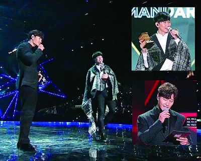 金钟国(左)同林俊杰合唱华语歌,让观众带惊喜。
