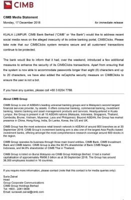 联昌银行(CIMB)周一澄清其转账系统仍安全,用户转账交易也受到保障。