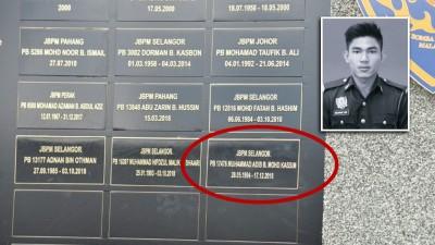 """莫哈末阿迪匾牌嵌入""""英雄纪念碑""""(圆圈处)。(图片取自新古毛中部消拯学院脸书)"""