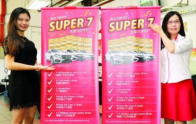 """摇珠女郎王小桐(左)和洪彩凤推介每期都创造7名百万富翁的""""大彩 Super 7""""。"""