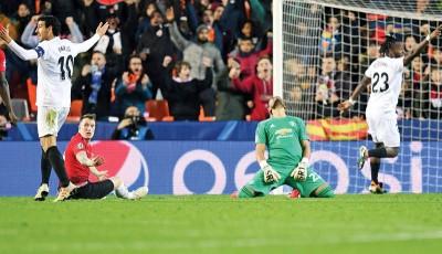 曼联在欧冠小组末战客场1比2败给华伦西亚。