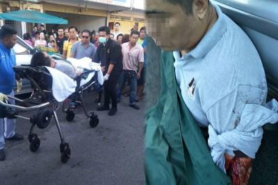(左)伤者被送入院救治。(右)华裔遭利刃砍伤,左手伤势严重。