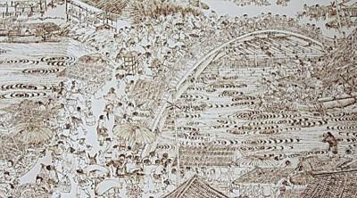 以烙画形式绘制的《清明上河图》局部。