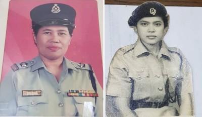 (左)查丽哈在警队服务,英姿飒爽。(右)年轻时代的再娜。