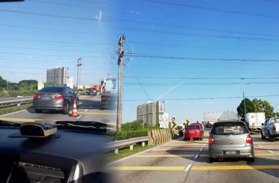 多辆轿车在添油后,抛锚在路旁。