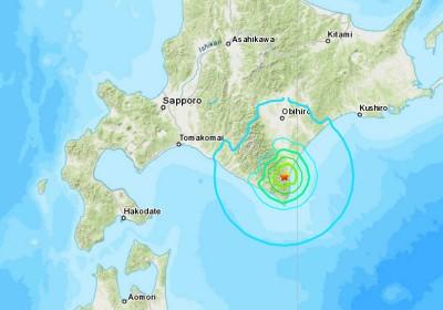 贪图中星星标志为震央位置。震造成的最大震度为4。