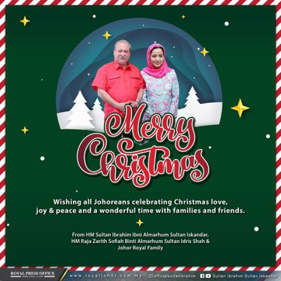 柔佛苏丹、苏丹后及家人祝贺柔佛子民有个美好的圣诞节。