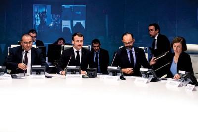 马克宏与内政部召开紧急会议应对。(法新社照片)