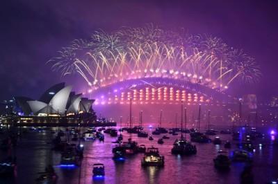 悉尼当局表示,今年的烟火是历来规模最大的一次。(法新社照片)