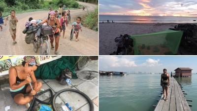 """在物质较匮乏的偏僻乡镇,孩子们的纯真与热心帮助深深打动着两人。沙滩上,简易式帐篷便是两人的""""家""""。懂得动手修理车胎也是旅途中重要的技能。胡之琰对槟城的姓氏桥(右下)印象深刻。"""