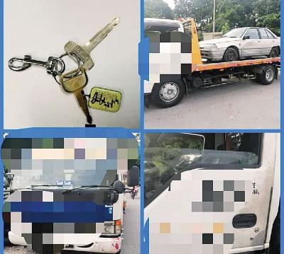 警方扣查偷走轿车的罗里。