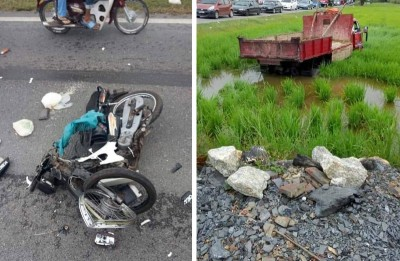 (左)死者乘骑的摩托车与罗里相撞后毁坏。(照片取自脸书)(右)罗里与摩托车相撞后失控撞进稻田。(照片取自脸书)