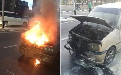 (左)同一名学员家长的小车在抵学校时著火。(右)轿车前总统烧毁。