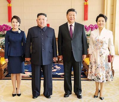 习近平夫妻在京城饭店设宴招待金正恩伉俪。