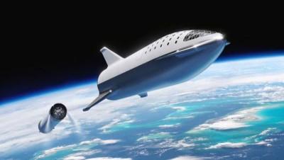 SpaceX生猎鹰火箭(BFR)渲染概念图。