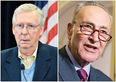 麦康奈尔(左图)和舒默(右图)各自提案表决,盼结束政府停摆。