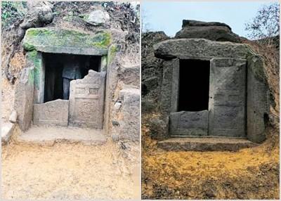 """当地人称两座宋代石室墓为""""官坟"""",官方正式名称为正安""""官田宋墓""""。"""