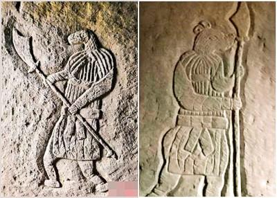 墓内发现的蛇首人身像(左图)及鼠首人身像(右图)是贵州首次发现。