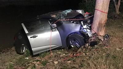 轿车凌晨失控猛撞路旁大树,车内的两人死亡,两人受伤。