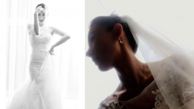 张柏芝深夜突然po出婚纱照。