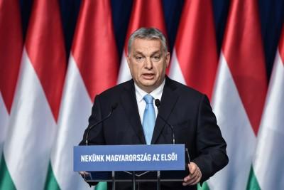 匈牙利总理欧尔班周日在布达佩斯发表国情咨文。(法新社照片)