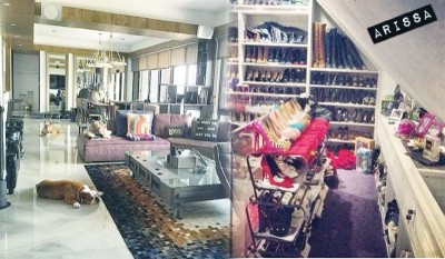 石贞善的豪宅大到看不到尽头,衣帽间全是满琳琅满目的名牌鞋、名牌包。