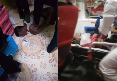 (左)尽管男子顽强抵抗,公安部还是成功在未误和女童情况下,制伏该叫男子。(右)女童在为救出后,以体能虚脱而飞被送往居林医院治疗。