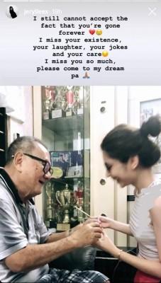 """李佩玲在IG公布父亲离世的消息,写下感言及上载多张与父亲的合照,她悲痛写下:""""下一世让我再当你女儿,我爱你pa。"""""""
