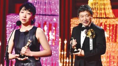 (左)安藤樱泪洒舞台。(右)是枝裕和向大会建言。
