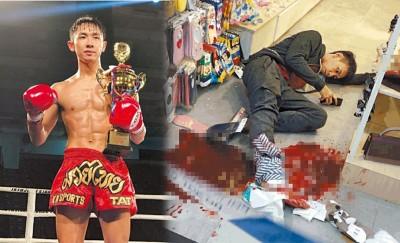 (左)上康达就表示香港出战国际大。(右)上康达脚部血流如注,反地后仍觉并打电话求助。