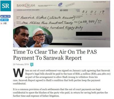"""《砂拉越报告》刊登一则""""是时候向大众揭露伊党支付款项予《砂拉越报告》""""的声明报道,证伊党确实支付142万令吉以寻求庭外和解。"""